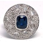 Estate & Vintage Lady's Art Deco design sapphire, diamond and white gold ring