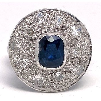 Lady's Art Deco design sapphire, diamond and white gold ring