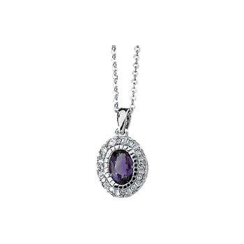 Genuine Amethyst & Diamond Necklace
