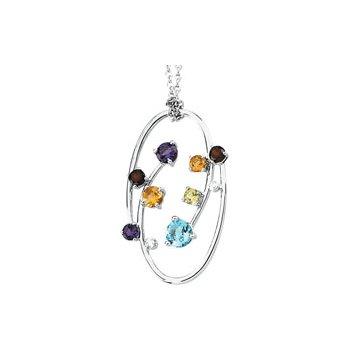 Genuine Multi Gem-stone & Diamond Necklace