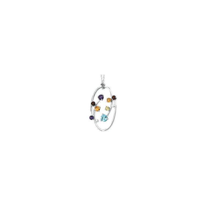 Ladies' Jewelry Genuine Multi Gem-stone & Diamond Necklace