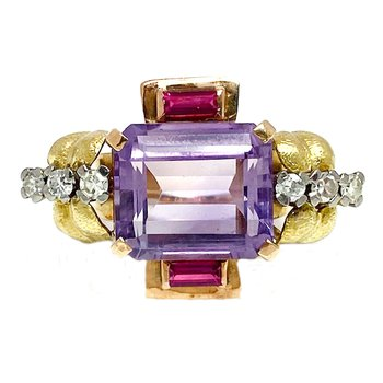 Lady's vintage Art Deco style two-toned, amethyst, diamond, and synthetic ruby ring