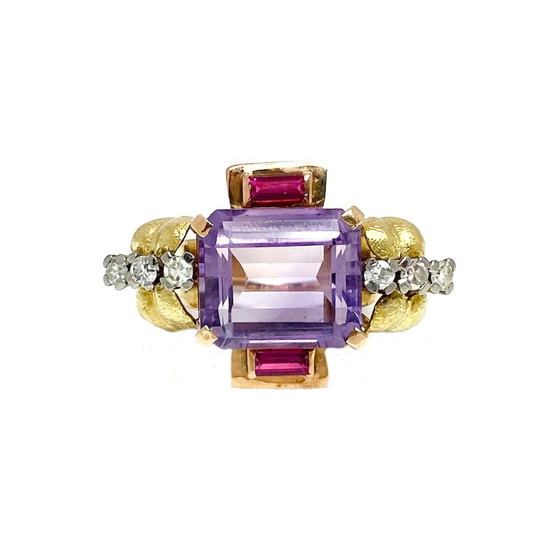 Estate & Vintage Lady's vintage Art Deco style two-toned, amethyst, diamond, and synthetic ruby ring