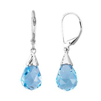 Genuine Checkerboard Swiss Blue Topaz Briolette Earrings
