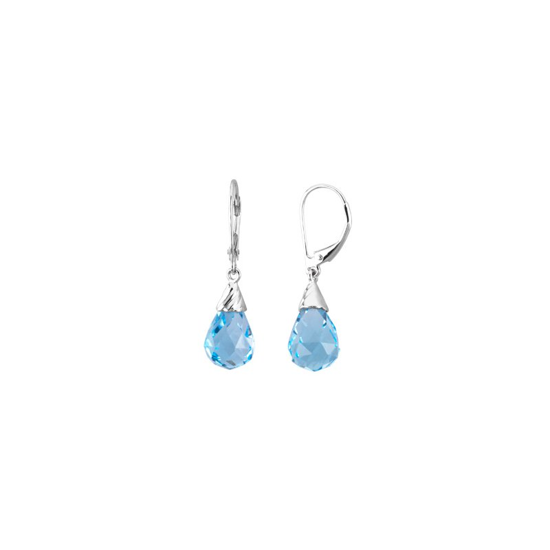 Ladies' Jewelry Genuine Checkerboard Swiss Blue Topaz Briolette Earrings