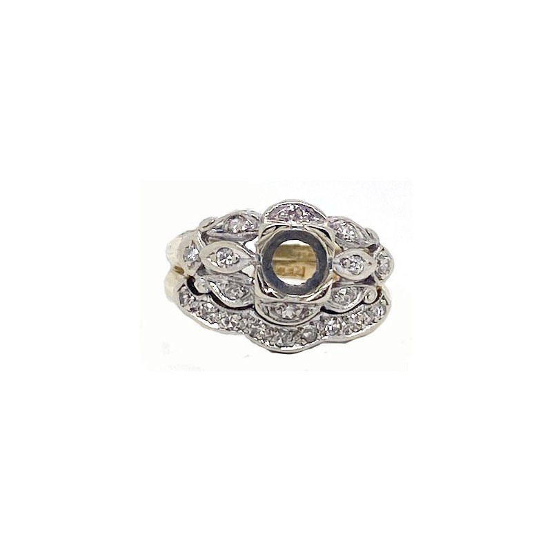 Vintage Bridal Diamond and Two-toned Gold, Vintage Style Mounting