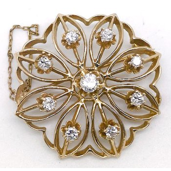 Vintage diamond and yellow gold brooch