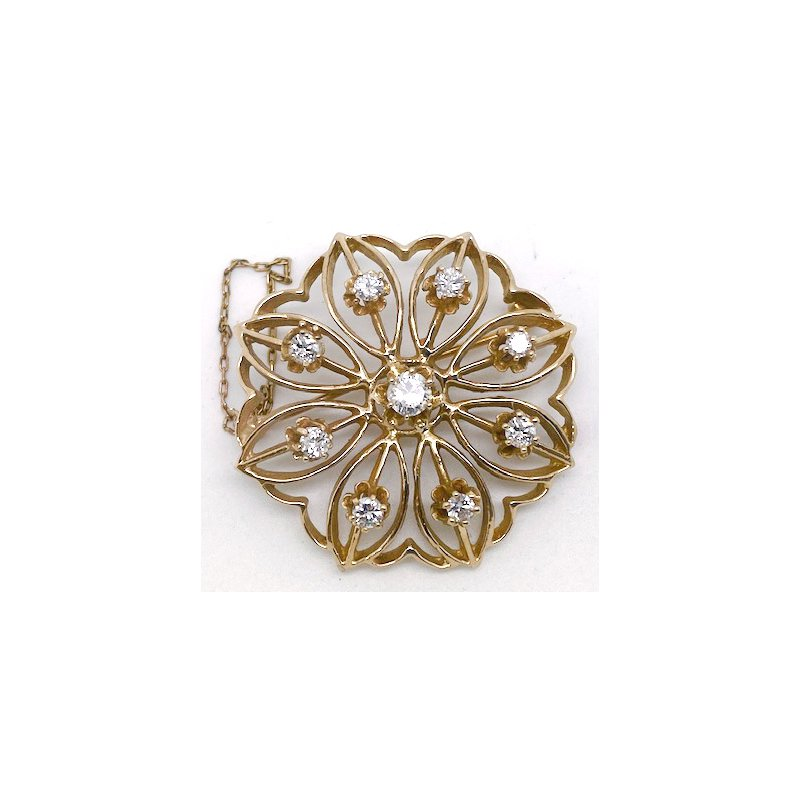 Estate & Vintage Vintage diamond and yellow gold brooch