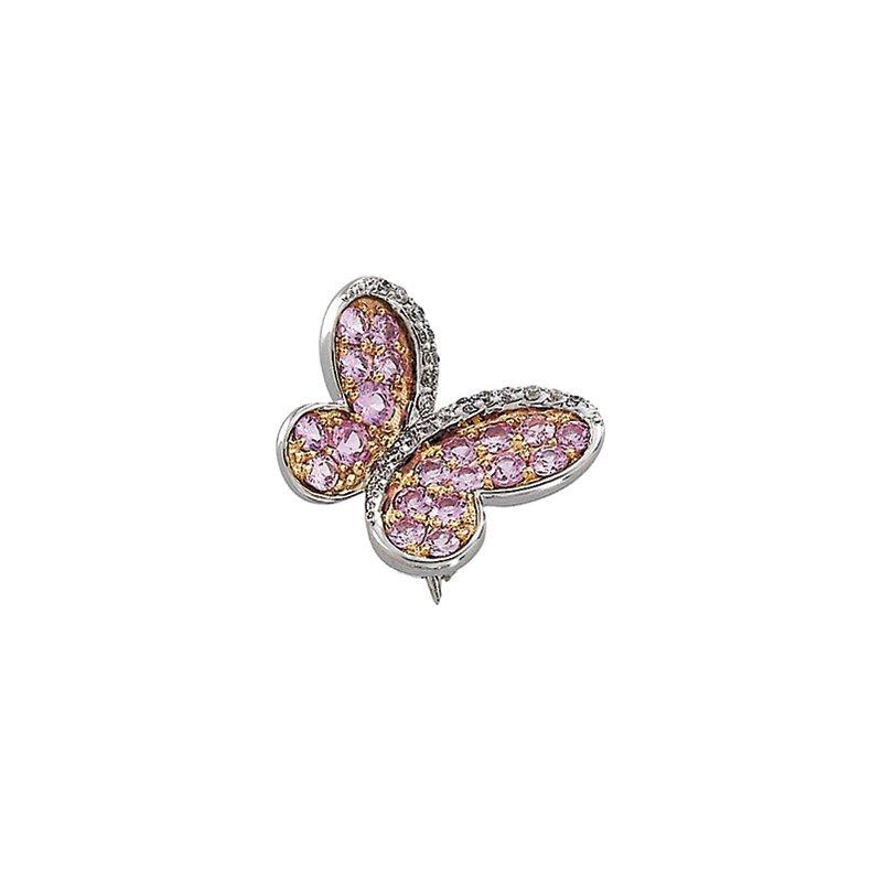 Ladies' Jewelry Genuine Pink Sapphire & Diamond Butterfly Brooch