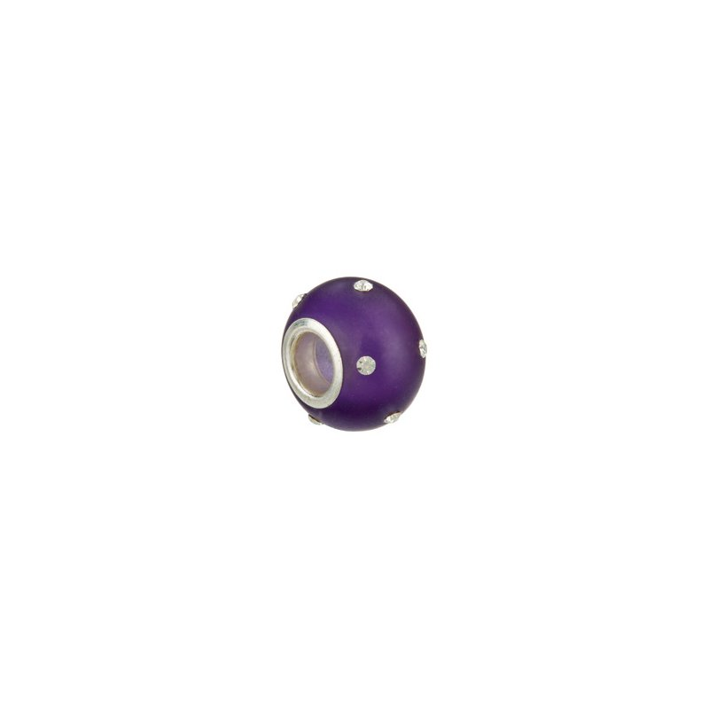 Holiday Ideas Kera Glass Purple Bead with Crystal Accents