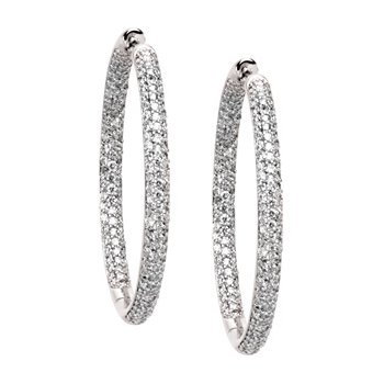 1 3/4 ct tw Diamond Inside-Outside Hoop Earrings
