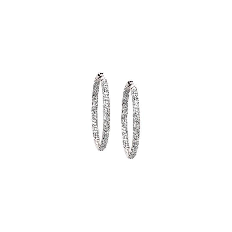 Ladies' Jewelry 1 3/4 ct tw Diamond Inside-Outside Hoop Earrings