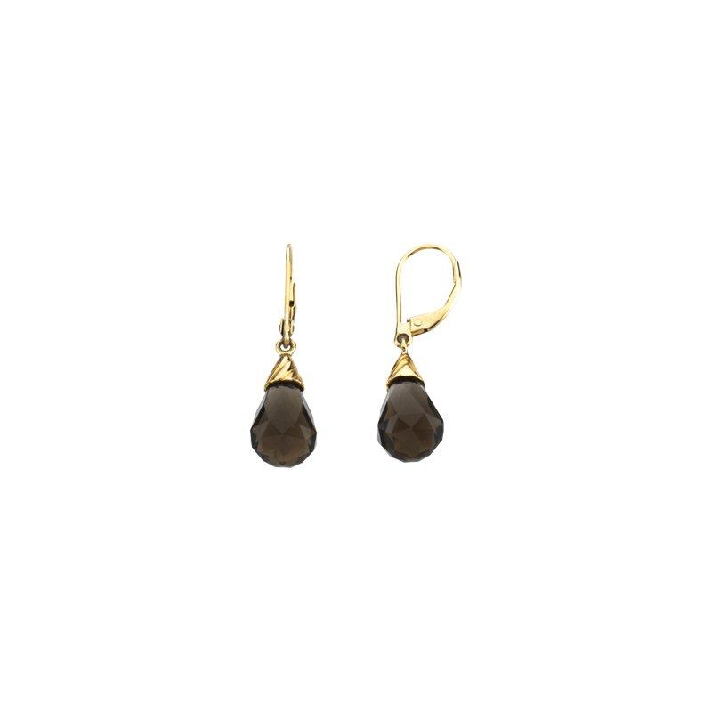 Ladies' Jewelry Genuine Checkerboard Smoky Quartz Briolette Earrings