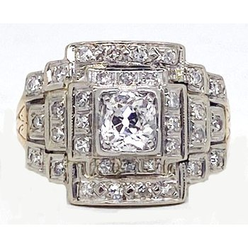 Diamond and Two-toned, Art Deco style, Ring