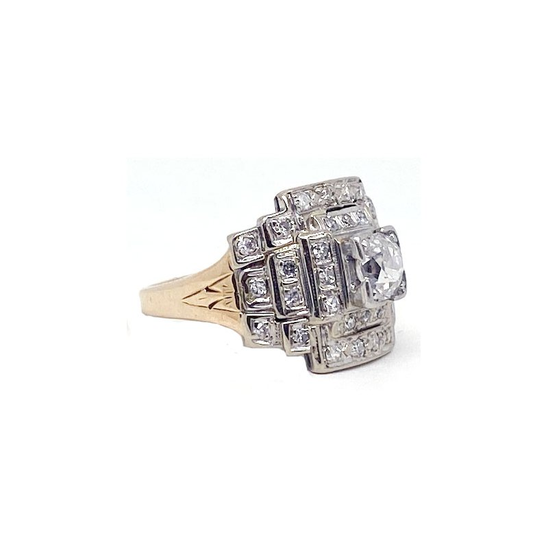 Vintage Bridal Diamond and Two-toned, Art Deco style, Ring