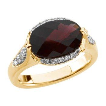 Genuine Checkerboard Brazilian Garnet & Diamond Ring