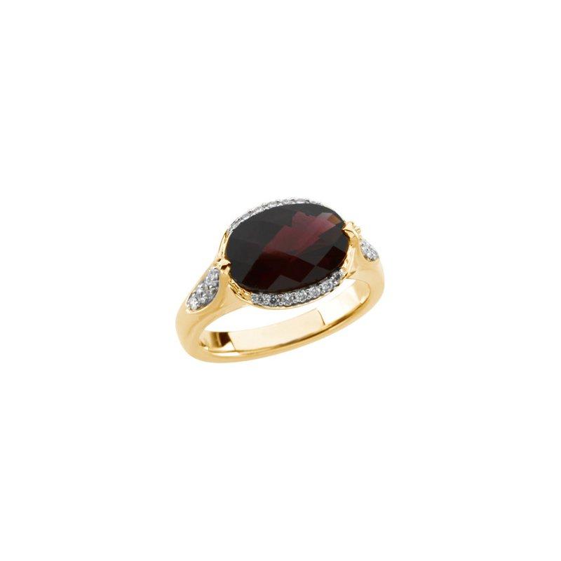Holiday Ideas Genuine Checkerboard Brazilian Garnet & Diamond Ring