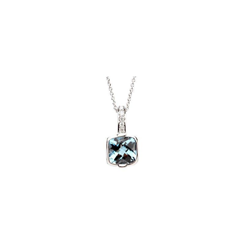 Ladies' Jewelry Genuine Checkerboard Swiss Blue Topaz & Diamond Necklace