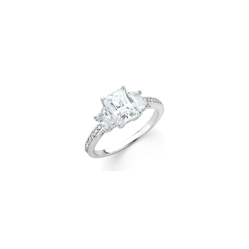 Holiday Ideas Semi-Mount Emerald and Trapezoid 3 Stone Anniversary Ring