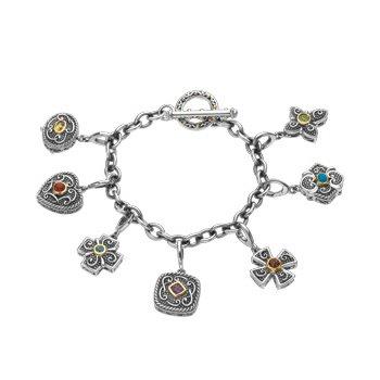 Genuine Multi Gem-stone Charm Bracelet