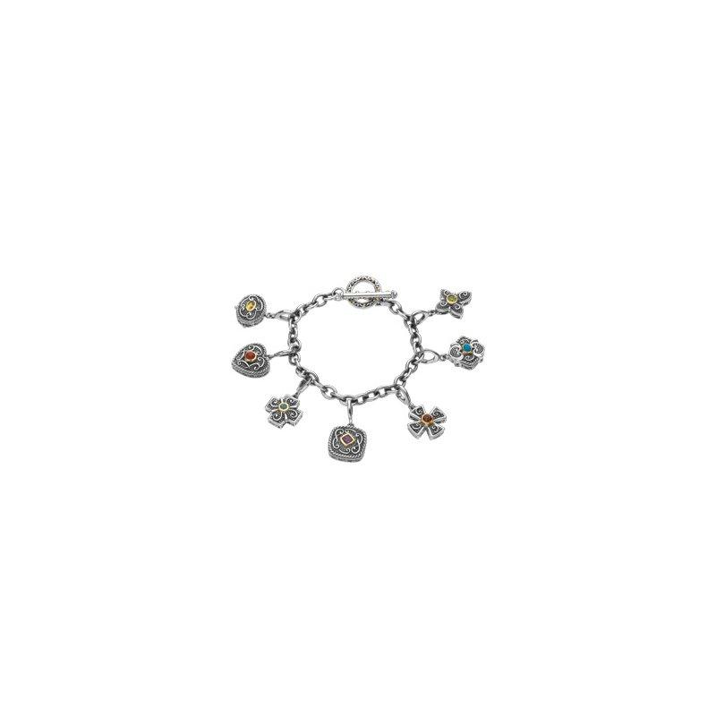 Ladies' Jewelry Genuine Multi Gem-stone Charm Bracelet