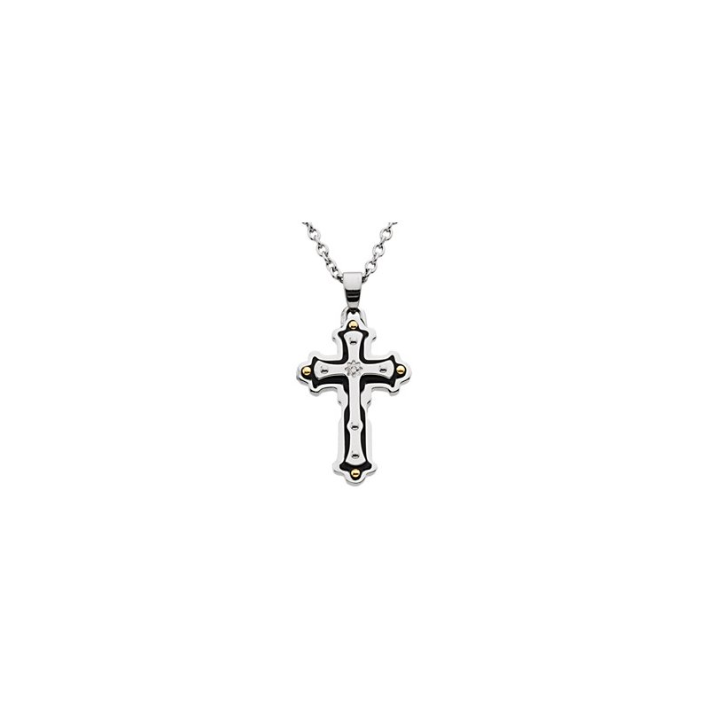 """Holiday Ideas Ion Plated Diamond Cross on a 18"""" Cable Chain"""