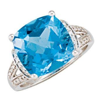 Genuine Swiss Blue Topaz & Diamond Ring