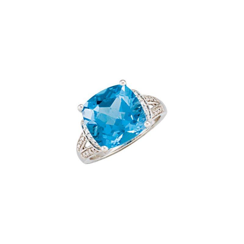 Holiday Ideas Genuine Swiss Blue Topaz & Diamond Ring