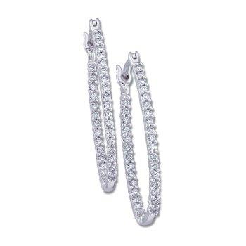 1/4 ct tw Diamond Inside-Outside Hoop Earrings