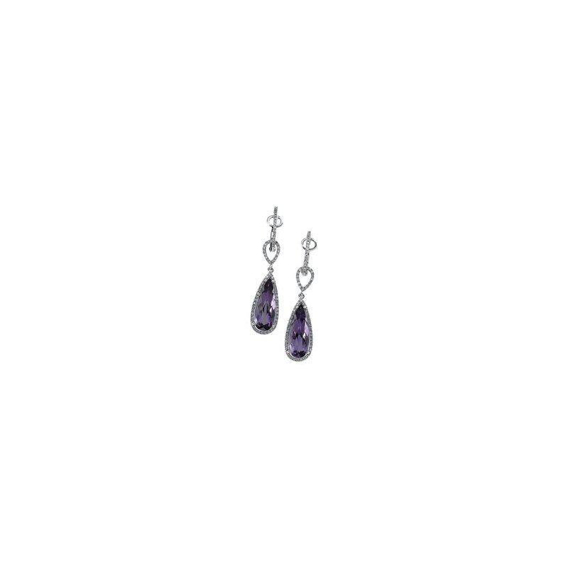 Ladies' Jewelry Genuine Amethyst & Diamond Earrings