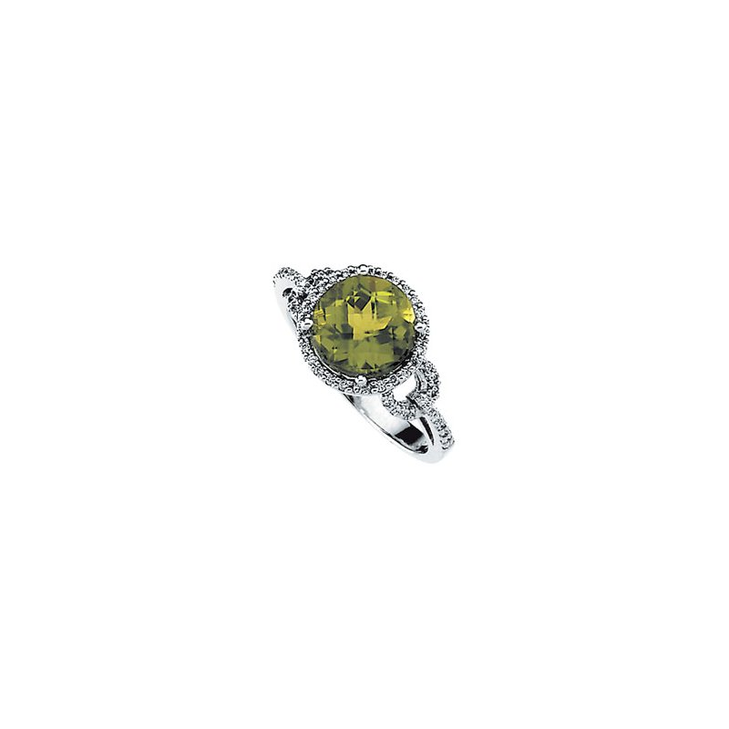 Ladies' Jewelry Genuine Checkerboard Peridot & Diamond Ring
