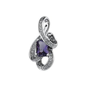 Genuine Amethyst & Diamond Pendant