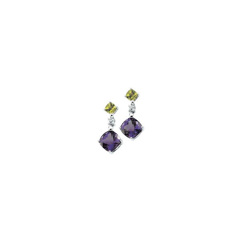 Holiday Ideas Genuine Multicolor Gemstone & Diamond Earrings