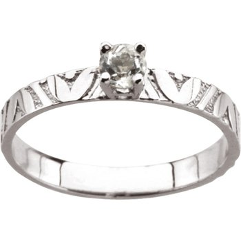 Children's Genuine White Topaz April Birthstone Ring