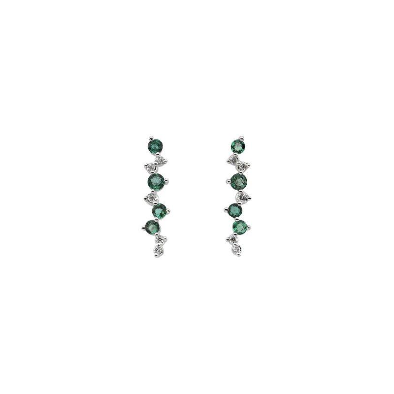 Ladies' Jewelry Genuine Emerald & Diamond Earrings