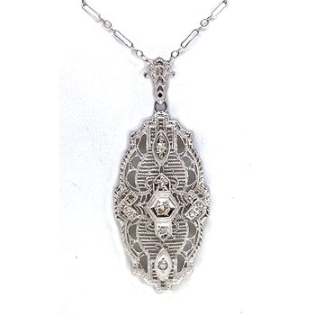 Vintage Art Deco design, diamond and white gold necklace
