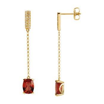 Genuine Solaris Sun Stone & Diamond Earrings