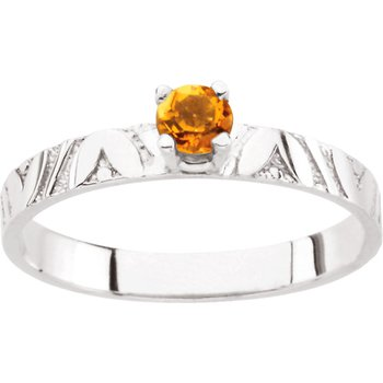 Children's Genuine Citrine November Birthstone Ring