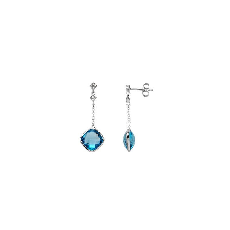Ladies' Jewelry Genuine Checkerboard Swiss Blue Topaz & Diamond Earrings