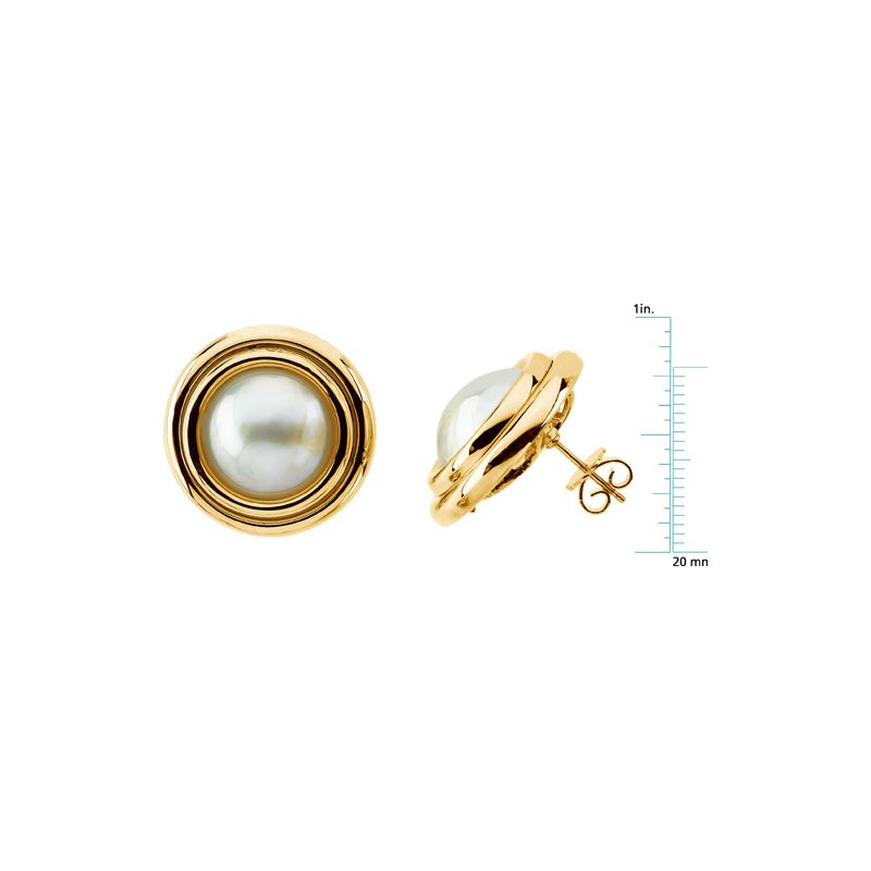 Ladies' Jewelry Mabe Cultured Pearl Earrings