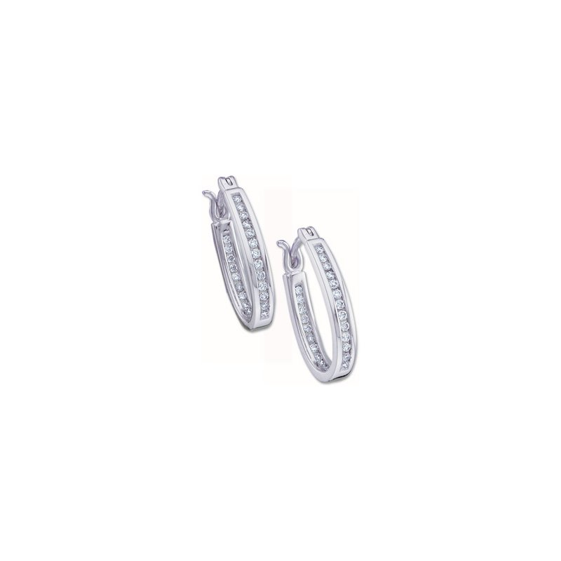 Ladies' Jewelry 1/3 ct tw Diamond Inside-Outside Hoop Earrings