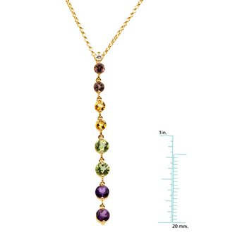 Genuine Pink Tourmaline, Citrine, Peridot, Amethyst & Diamond Necklace