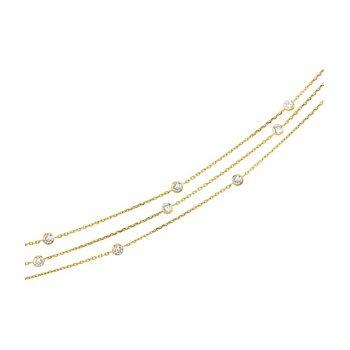 Three Strand Cubic Zirconia Necklace