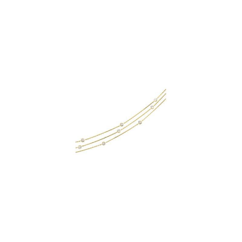 Ladies' Jewelry Three Strand Cubic Zirconia Necklace