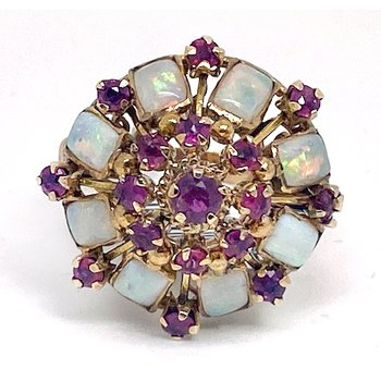 Lady's vintage ruby, opal and yellow gold ring