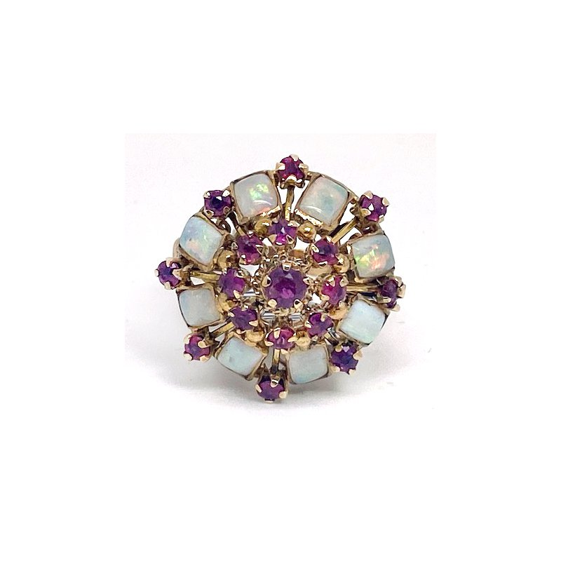 Estate & Vintage Lady's vintage ruby, opal and yellow gold ring