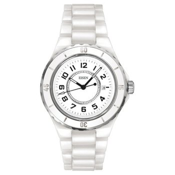Eisen Lady's White Ceramic Designer Quartz Wrist Watch