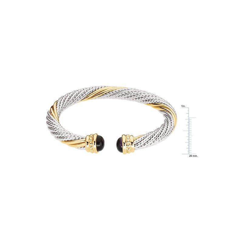 Ladies' Jewelry Genuine Amethyst Cable Bracelet