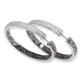 14k White Gold Black & White Diamond In-Out Hoop Earrings