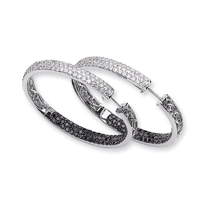Susan Eisen 14k White Gold Black & White Diamond In-Out Hoop Earrings